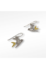Gallardo and Blaine Swallow Dangle Earrings with Silver and Gold