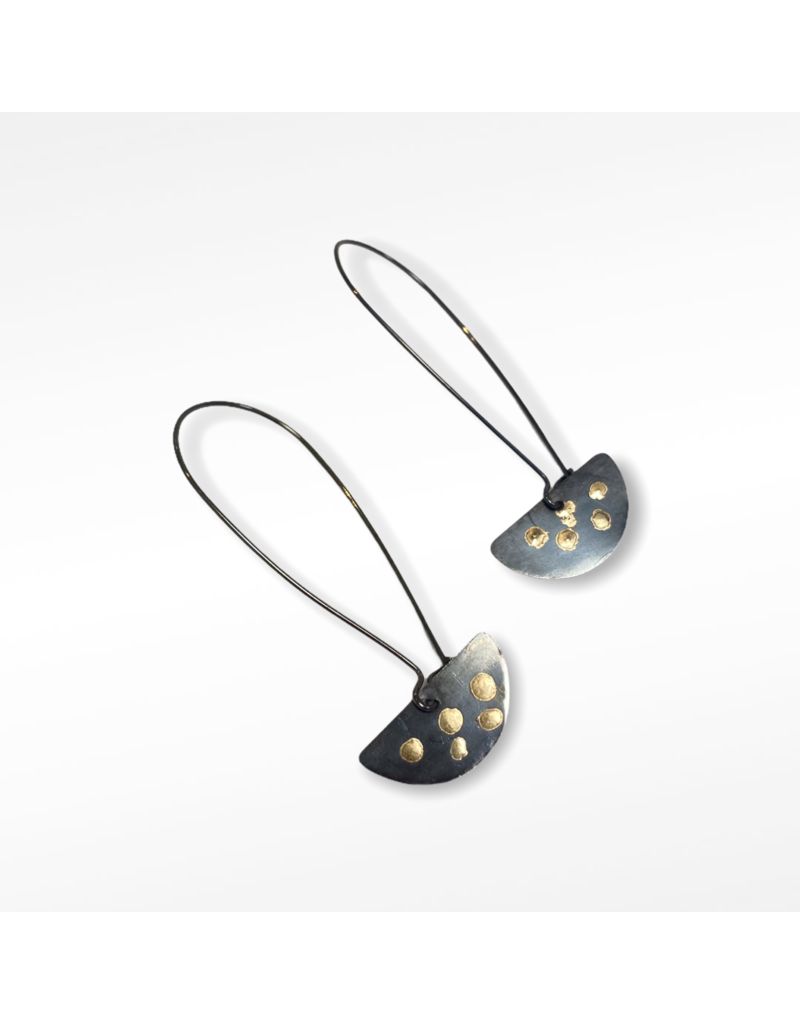 Ghost and Bonesetter Oxidised Silver and Gold Drop Earrings
