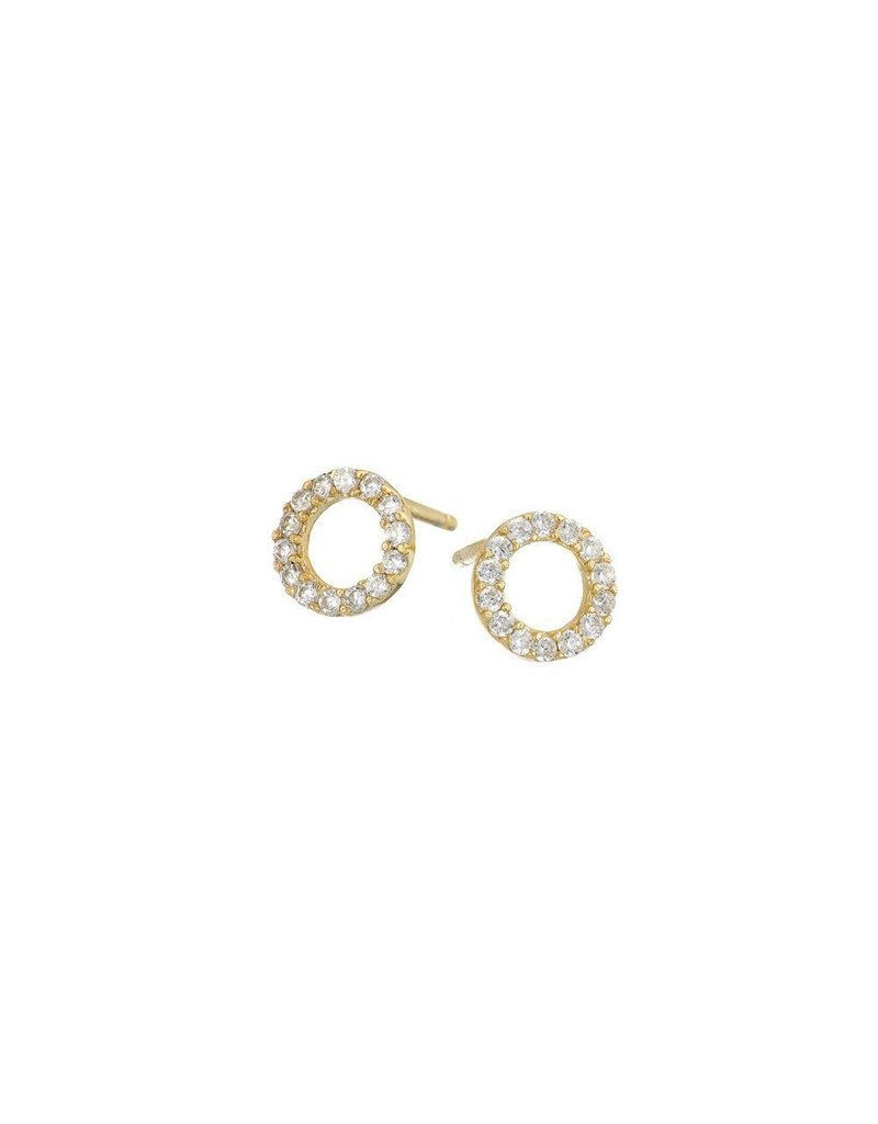 Mary k Jewellery Gold Pave Circle Stud Earrings