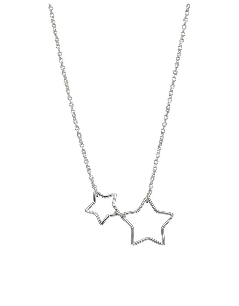 Mary k Jewellery Silver Open 2 Star Necklace