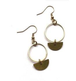 Kaiko Studio Circle and Half Moon Brass Earrings