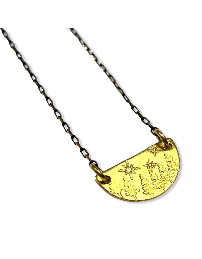 Kaiko Studio Forest and Stars Hand Stamped Brass Necklace