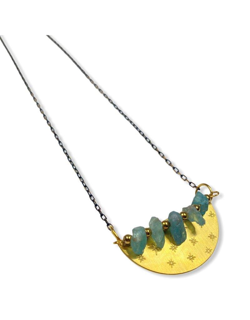 Kaiko Studio Apatite Crystal Hand Stamped Brass Necklace
