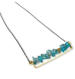 Kaiko Studio Apatite Crystal Long Bar Brass Necklace