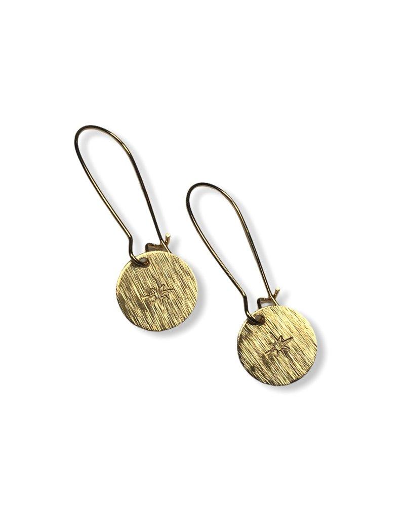 Kaiko Studio Star Hand Stamped Brass Drop Earrings