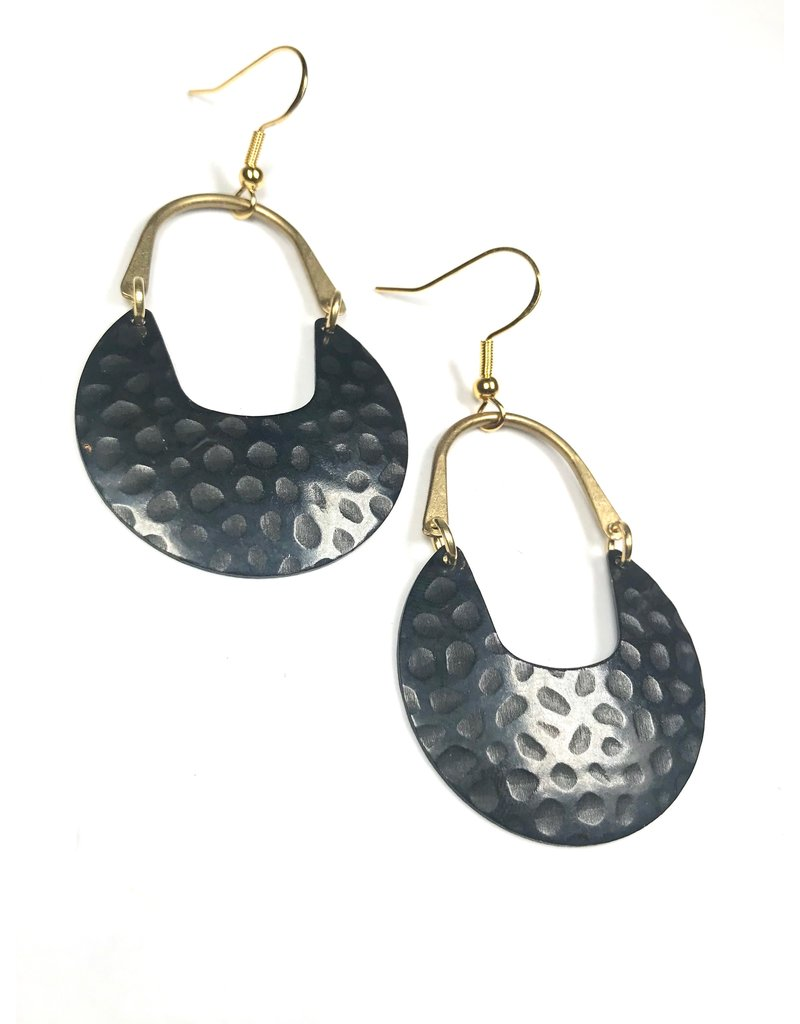 Kaiko Studio Large Textured Black and Brass Earrings