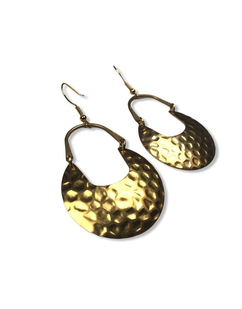 Kaiko Studio Large Textured Brass Earrings