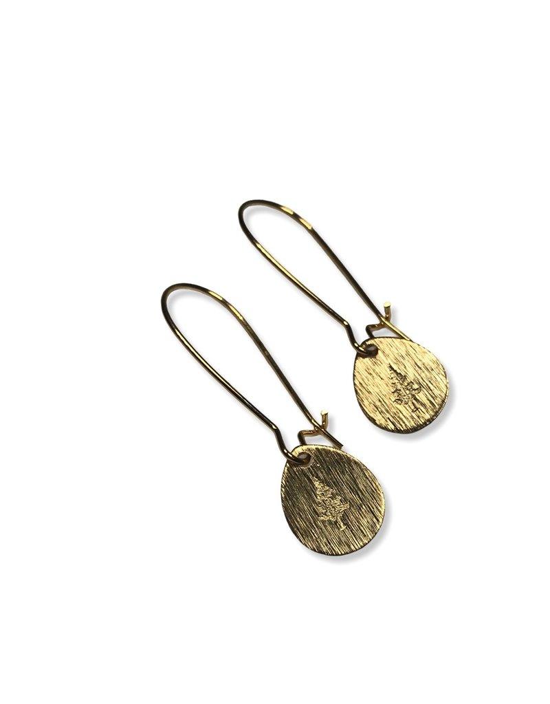 Kaiko Studio Tree Hand Stamped Brass Drop Earrings