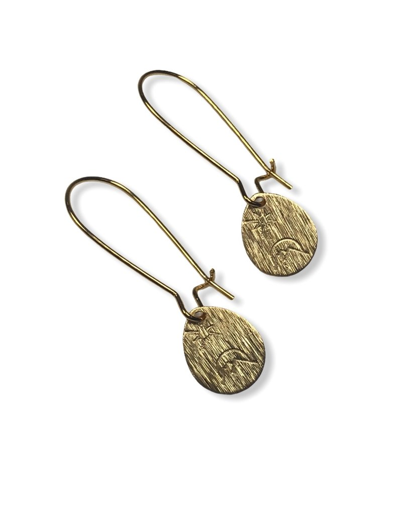 Kaiko Studio Hand Stamped Brass Star and Moon Drop Earrings