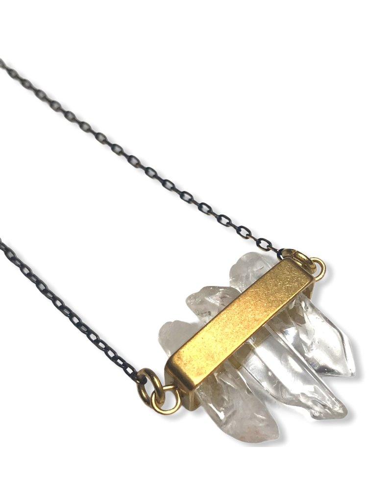 Kaiko Studio Clear Quartz and Brass Rectangle Necklace