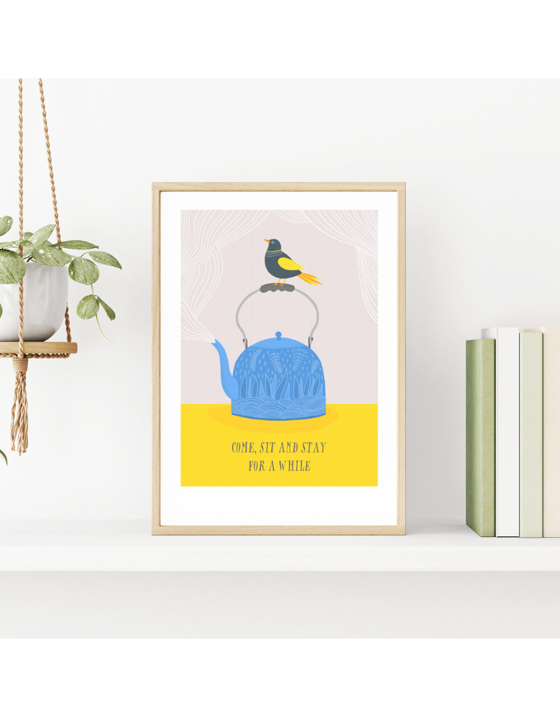 Fleur and Mimi Come, Sit & Stay A4 Unframed Print