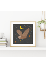 Fleur and Mimi The Owl and the Moon Square Unframed Print