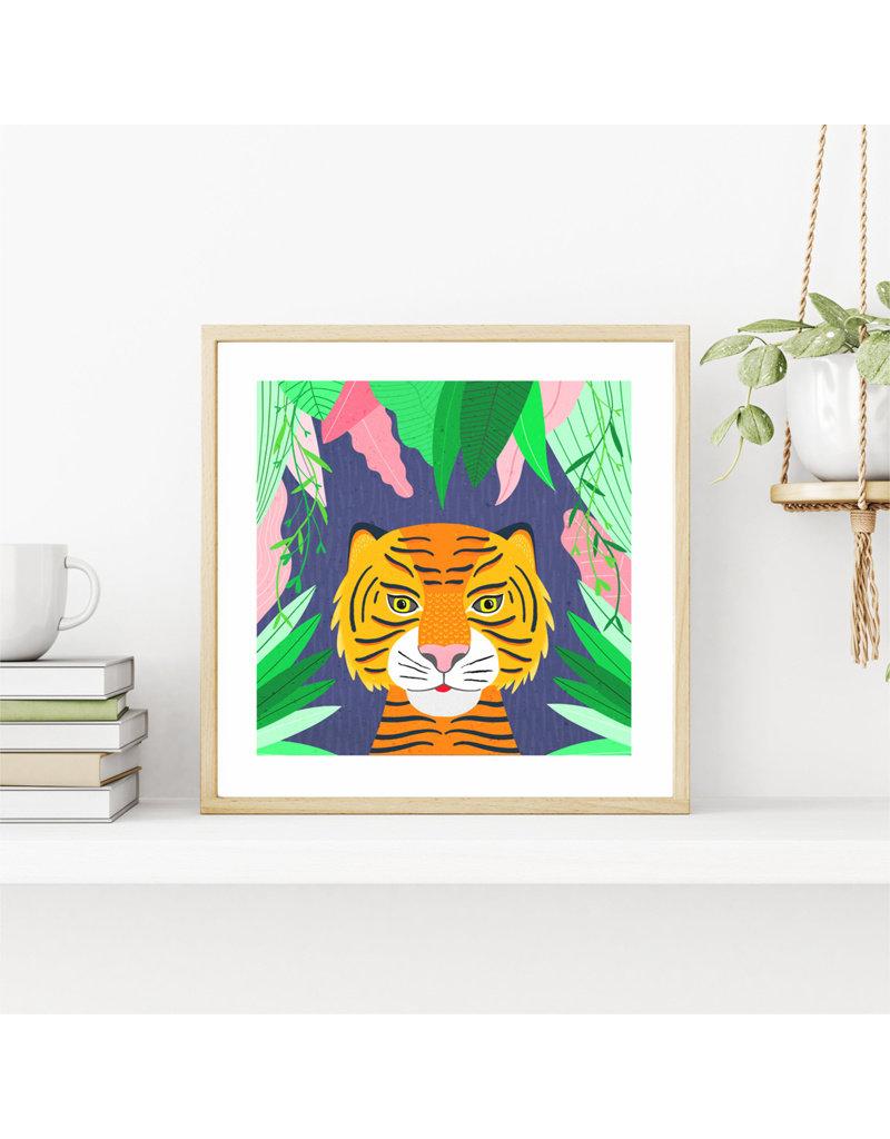 Fleur and Mimi Tiger Square Unframed Print