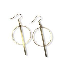 Kaiko Studio Large Geometric Circle and Bar Brass Earrings