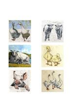 Annabel Langrish Set of Farmyard Animals Illustrated Mini Cards - 6 Pack
