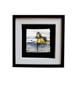 Stephen Farnan 'Diving Off Blackrock' Porcelain Sketch - Black Frame