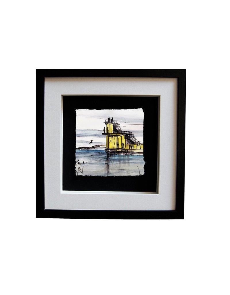 Stephen Farnan 'Diving Off Blackrock' Porcelain Framed - Black Frame