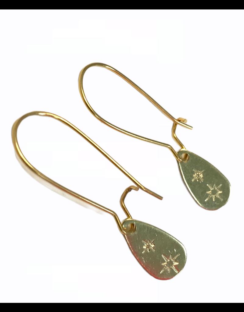 Kaiko Studio Star Hand Stamped Brass Pear Drop  Earrings