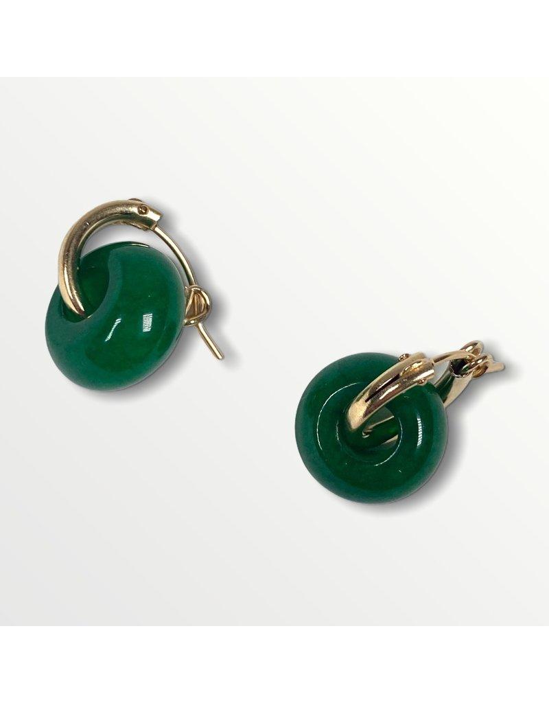 A Box for My Treasure Green Jade and Gold Hinged Hoop Earrings