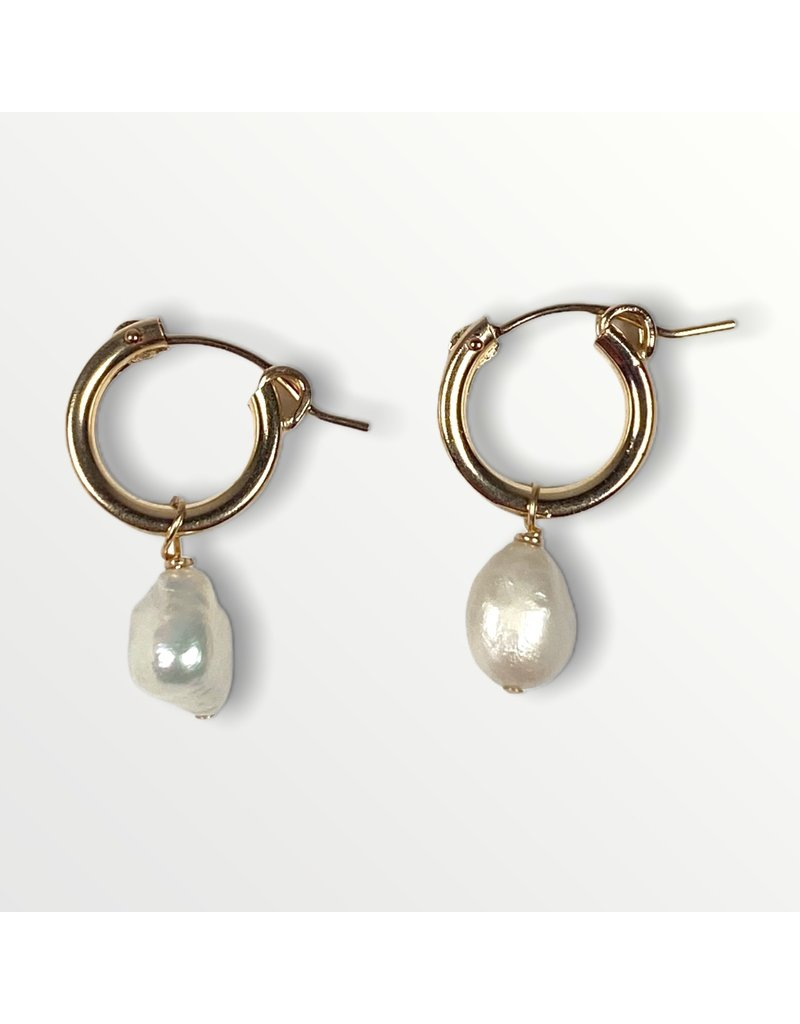 A Box for My Treasure Pearl and Gold Hinged Hoop Earrings