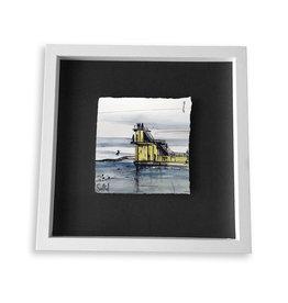 Stephen Farnan 'Diving Off Blackrock' Porcelain  Sketch - White Frame