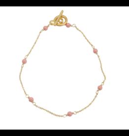 Vivien Walsh Gold Mini Dot Bracelet - Coral