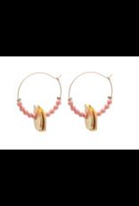 Vivien Walsh Beaded Disc Midi Hoop Earrings - Coral