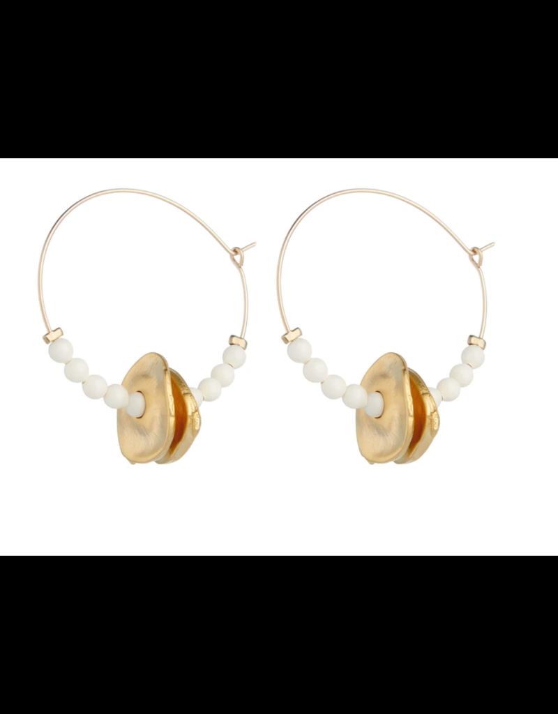 Vivien Walsh Beaded Disc Midi Hoop Earrings - Ivory