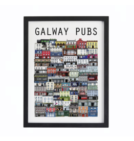 Cowfield Design Galway Pubs Print Large Unframed