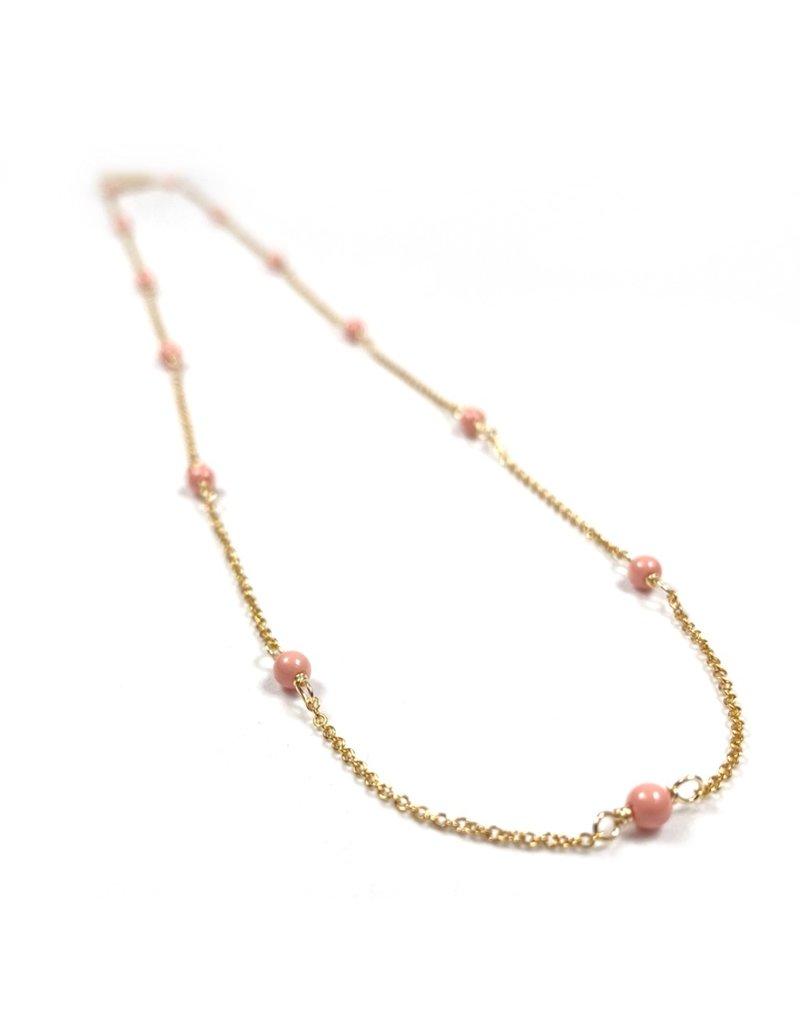 Vivien Walsh Gold Mini Dot Necklace - Coral