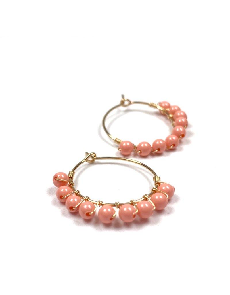 Vivien Walsh Gold Beaded Mini Hoop Earrings - Coral