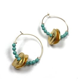 Vivien Walsh Beaded Disc Midi Hoop Earrings - Jade