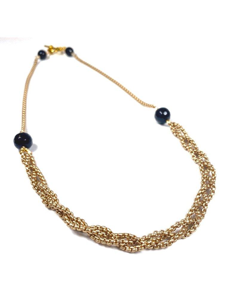 Vivien Walsh Black Onyx Plait Chain Necklace