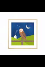 Fleur and Mimi Barn Owl Square Unframed Print