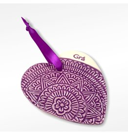 Maple Tree Pottery Ceramic Gra Heart - Purple Mandala