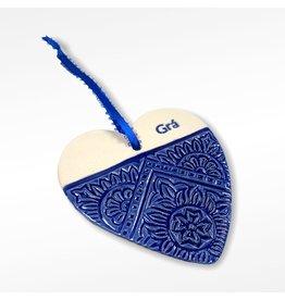 Maple Tree Pottery Ceramic Gra Heart - Blue Pattern