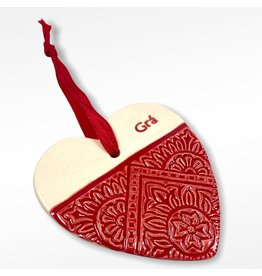 Maple Tree Pottery Ceramic Gra Heart - Red Pattern