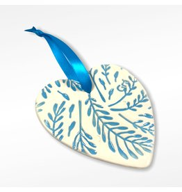 Maple Tree Pottery Ceramic Gra Heart - Light Blue Leaves