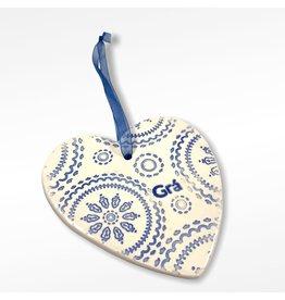 Maple Tree Pottery Ceramic Gra Heart - Blue Multi Mandala