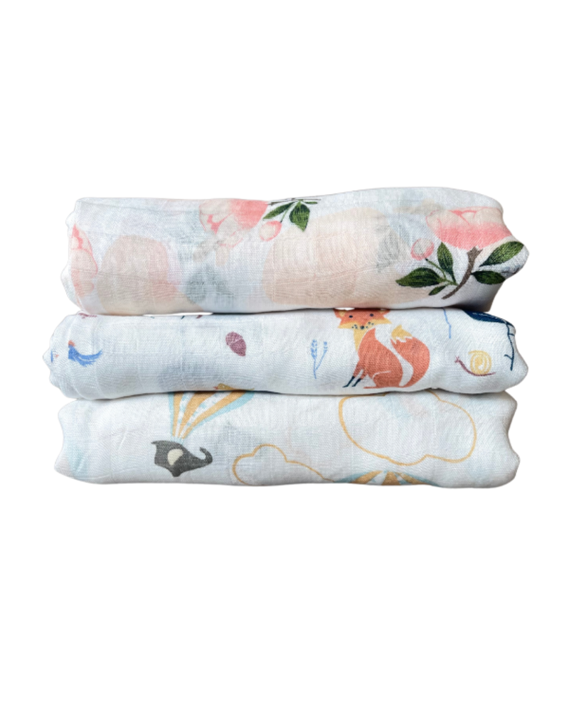 The Stork Box Floral Bamboo Muslin Blanket