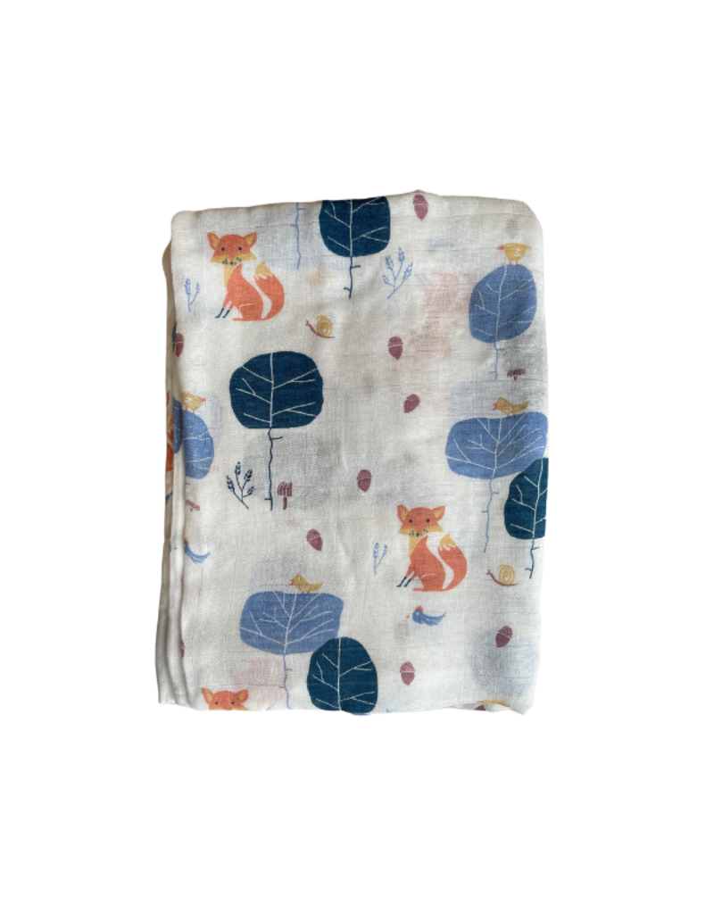The Stork Box Fox Bamboo Muslin Blanket