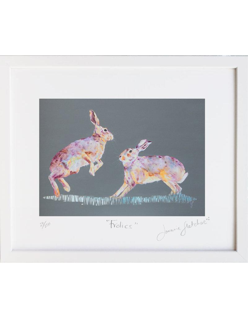 Lorraine Fletcher 'Frolics' Framed Hare Print