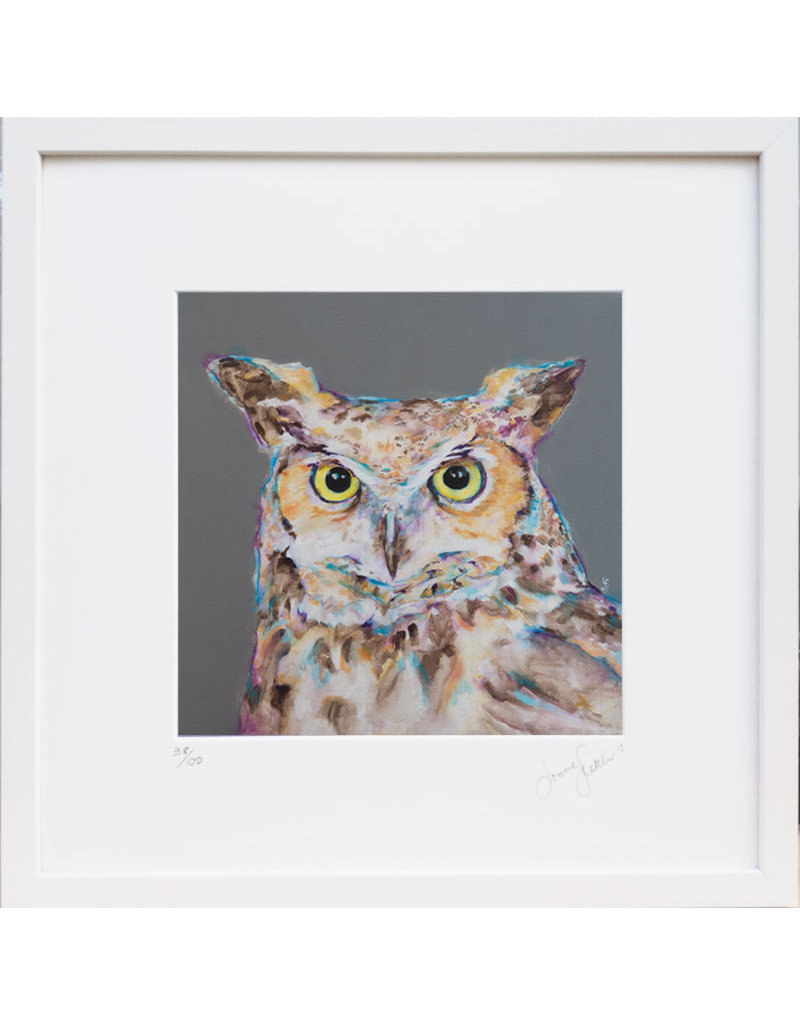 Lorraine Fletcher 'A Late Night' Owl Print