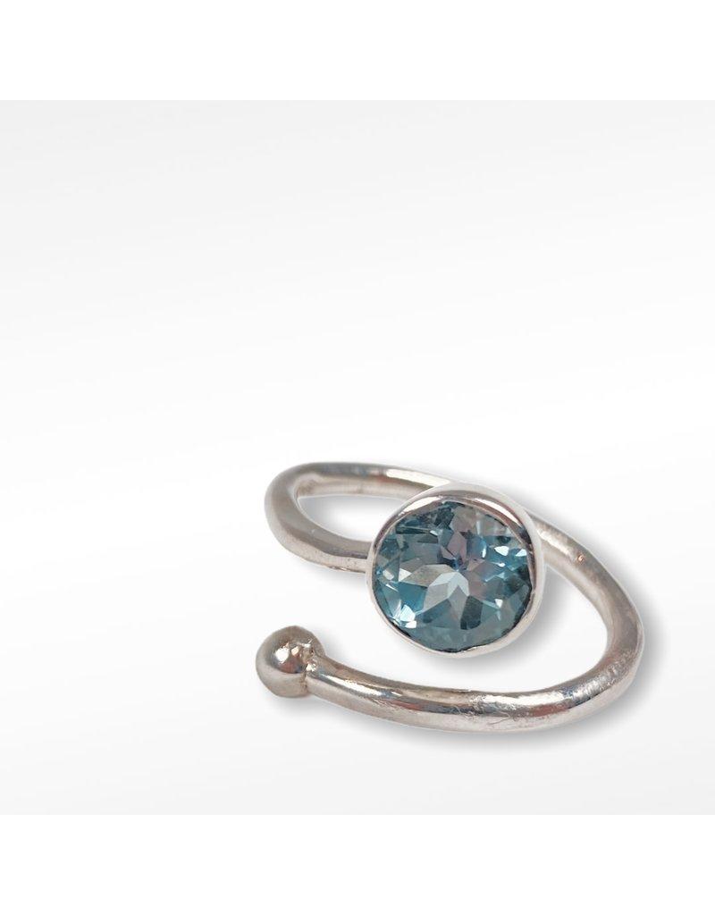 Gallardo and Blaine Honeysuckle Silver and Blue Topaz  Ring