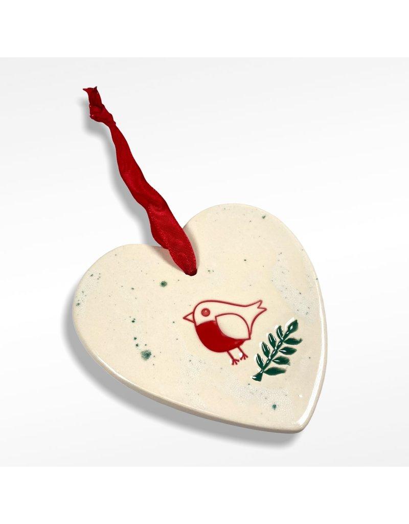 Maple Tree Pottery Robin Heart Christmas Decoration