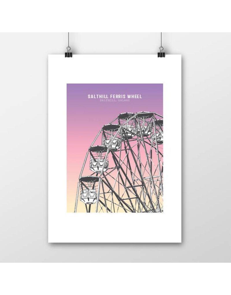 Jando Designs Salthill Ferris Wheel A4 Print Unframed