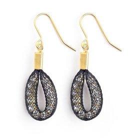Topaz Gold Black Tiny Teardrop Earrings