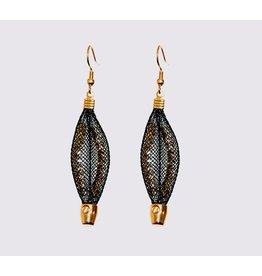 Topaz Gold Black Leaf Earrings