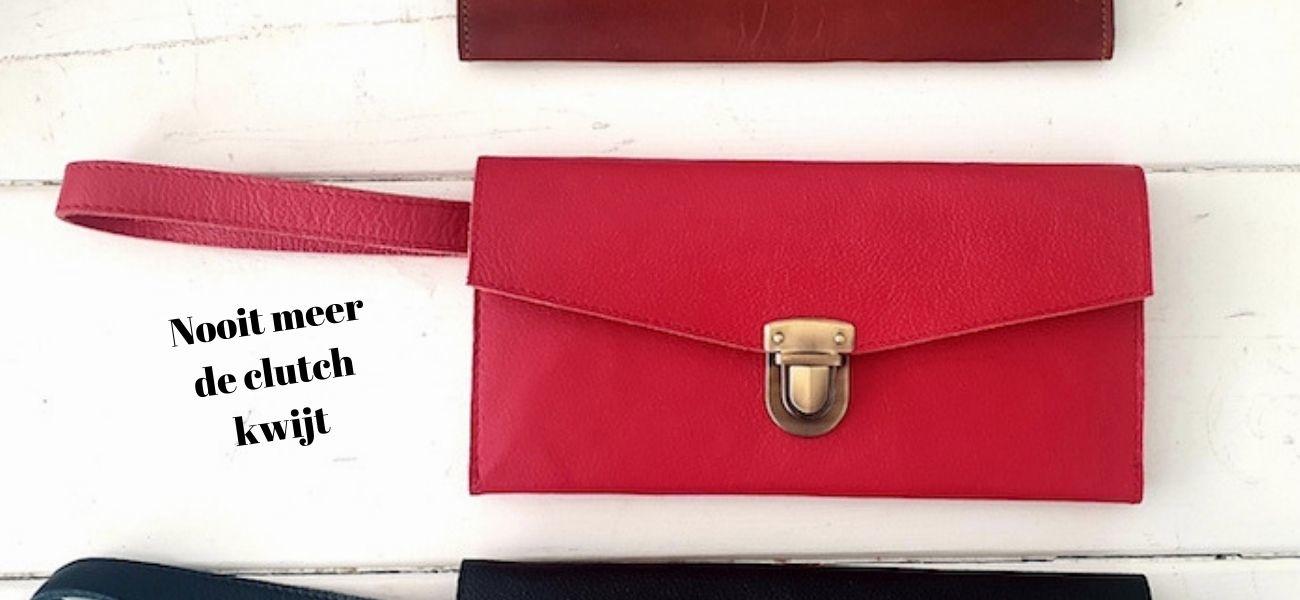 Leren clutch portemonnee in het zwart, rood en bruin