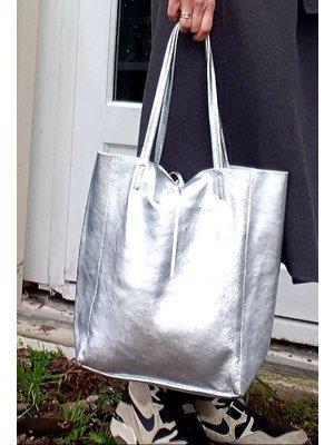 Joof Metallic leren shoppers. Zilver, Goud & Gunmetal
